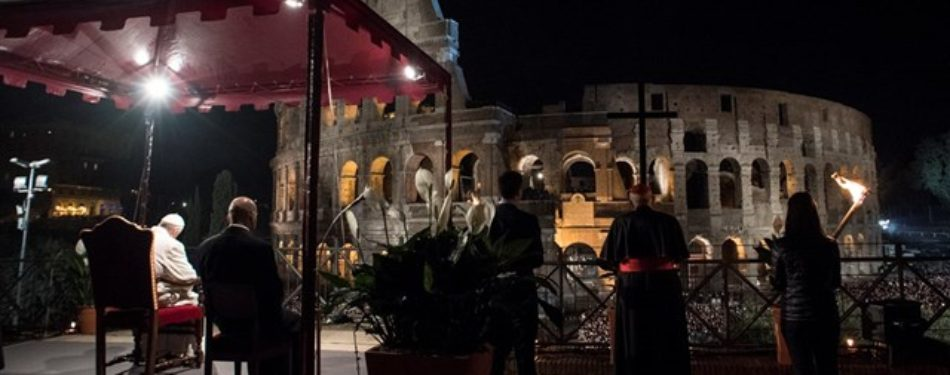 Pope Presides Over The Via Crucis At Colosseum