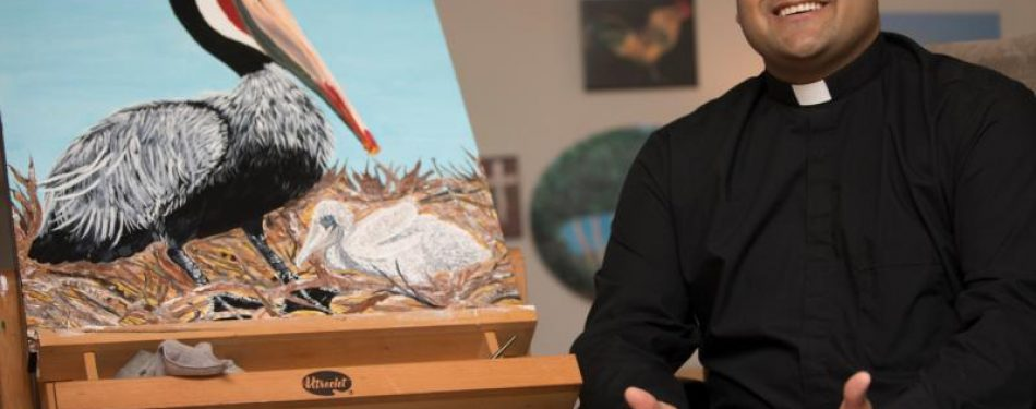 Seminarian preaches with paint; artwork also helps out his own prayer