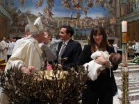 Baptism is first step on path of humility, pope says