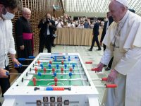 Super Football Fan Pope Francis Gets His Own  Table